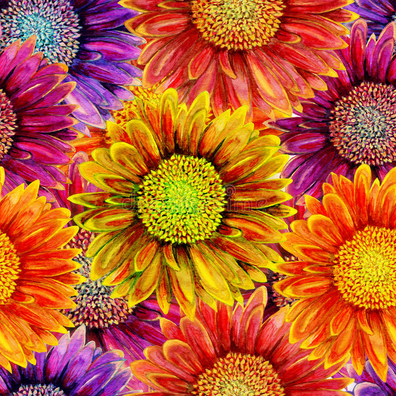 Free Seamless Pattern With Watercolor Gerbera Flower. Stock Images - 71486434