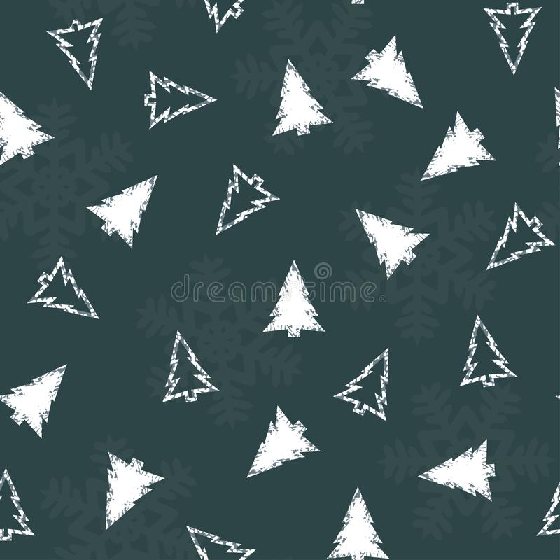 Free Seamless Pattern With White Christmas Trees And Snowflakes On A Blue Background. Vector. Royalty Free Stock Images - 129865839