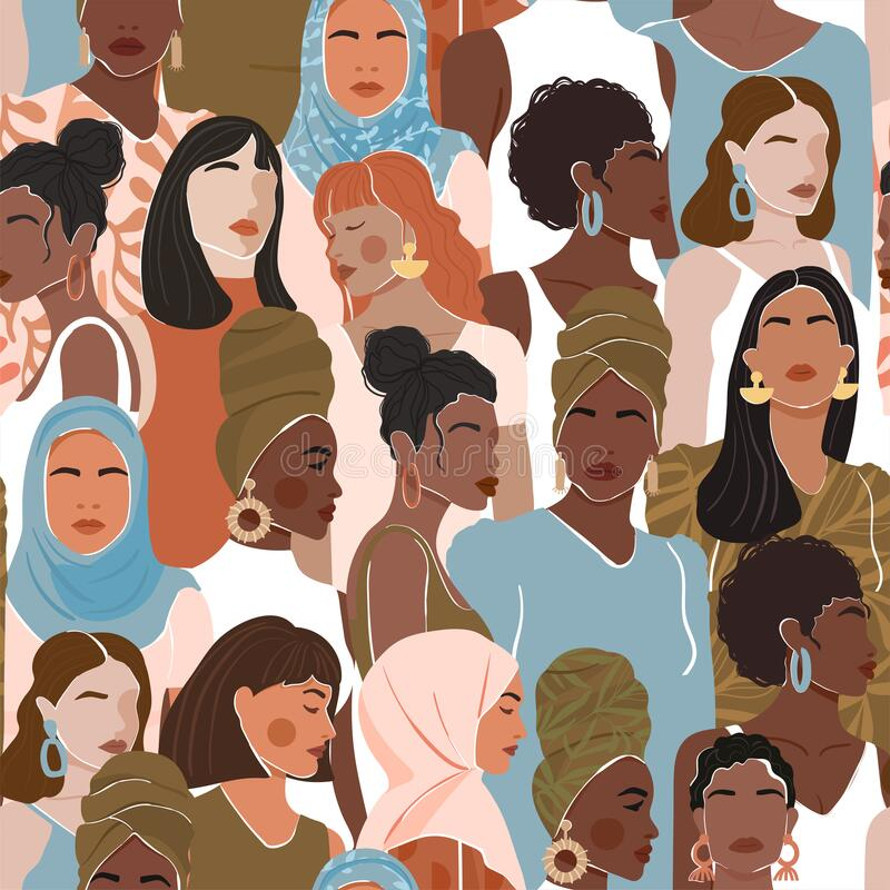 Free Seamless Pattern With Women Different Nationalities And Cultures. Girl Power, Struggle For Equality, Feminism, Sisterhood Concept. Royalty Free Stock Image - 183432766
