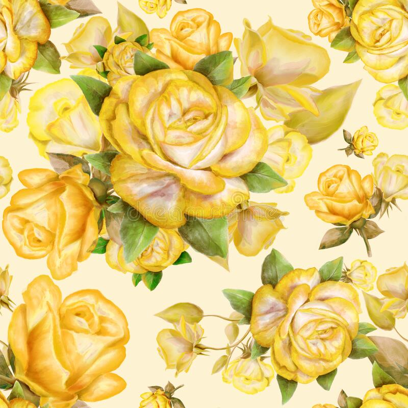 Free Seamless Pattern With Yellow Roses And Leaves On Background. Stock Image - 221583331