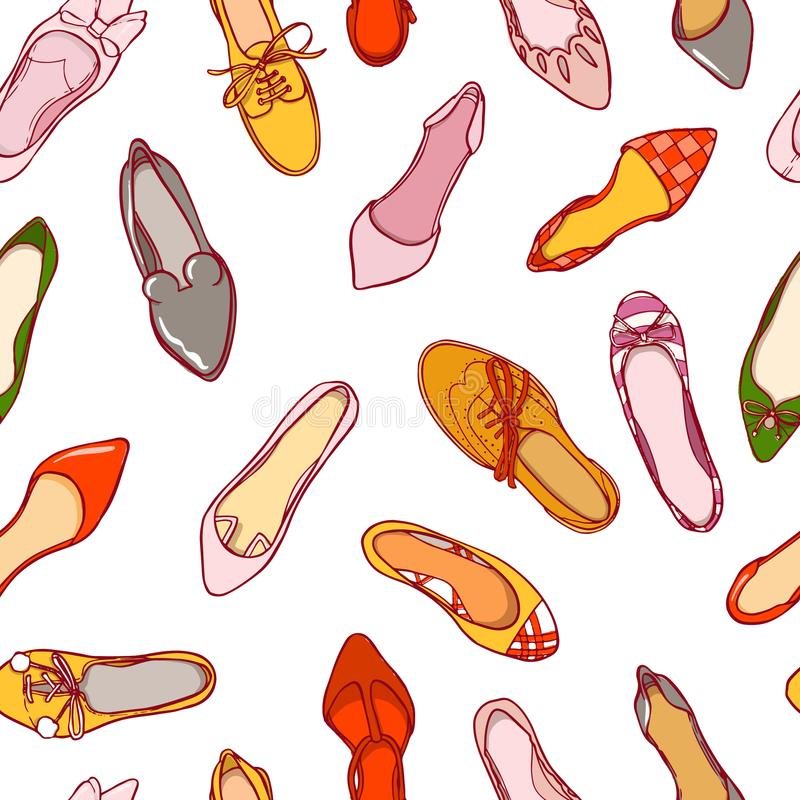 Seamless pattern of woman shoes. Vector colorful background of footwear collection.  vector illustration
