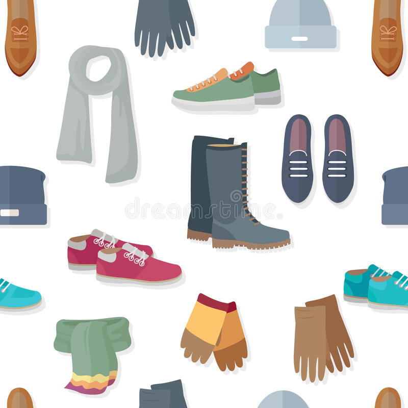 Seamless Pattern with Women Accessories and Shoes royalty free illustration