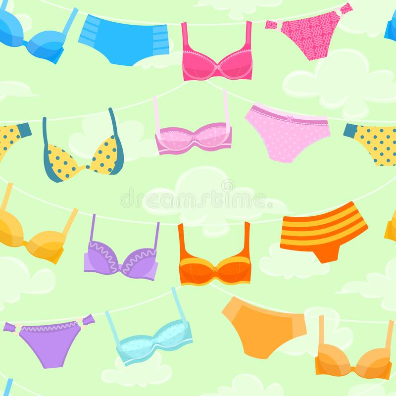 Seamless pattern with women`s lingerie hanging at rope royalty free illustration