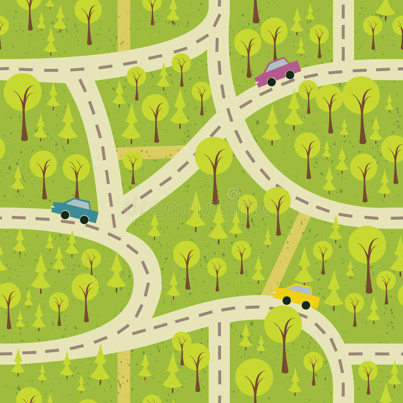 Seamless pattern with the wood and roads stock illustration