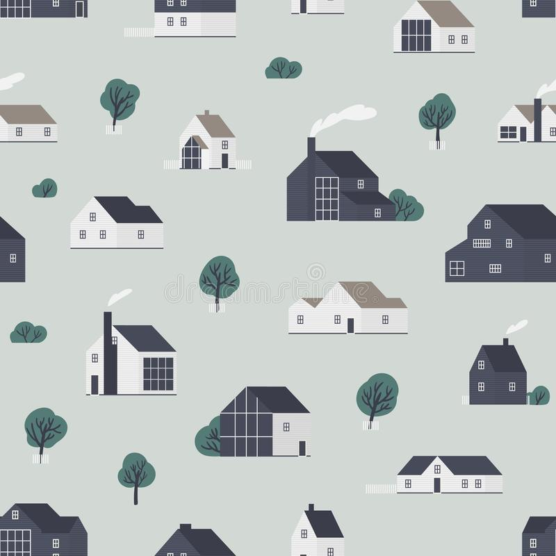 Seamless pattern with wooden country houses, town cottages, dwelling in Scandic style. Backdrop with suburban. Residential buildings. Flat vector illustration vector illustration