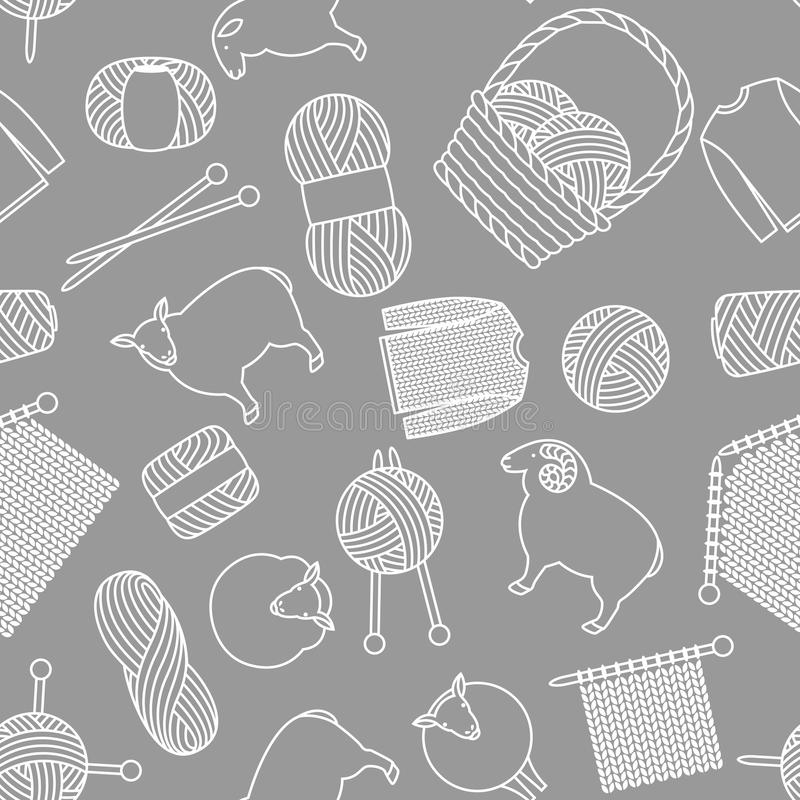 Seamless pattern with wool items. Goods for hand made, knitting or tailor shop.  vector illustration