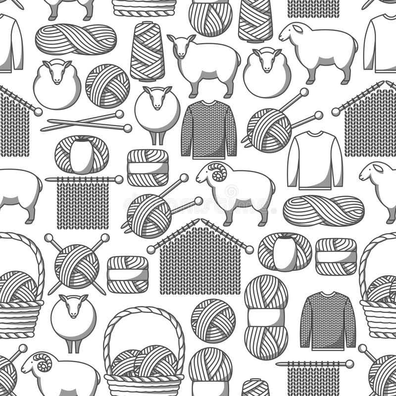 Seamless pattern with wool items. Goods for hand made, knitting or tailor shop.  royalty free illustration