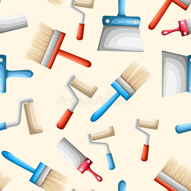 Seamless pattern. Work tools. Paint brush and roller. Flat vector illustration on beige background stock illustration