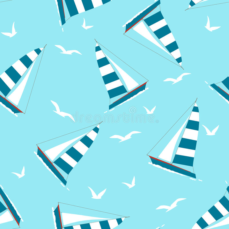 Seamless Pattern with Yacht and Seagulls royalty free illustration