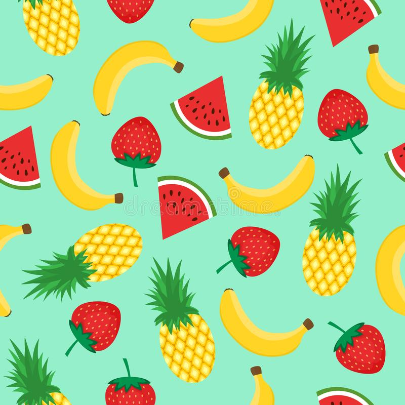 Seamless pattern with yellow bananas, pineapples, watermelon and strawberries on mint green background. Summer fruit mix stock illustration