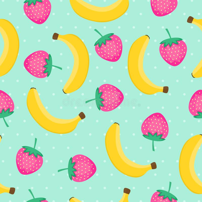 Seamless pattern with yellow bananas and pink strawberries. stock illustration