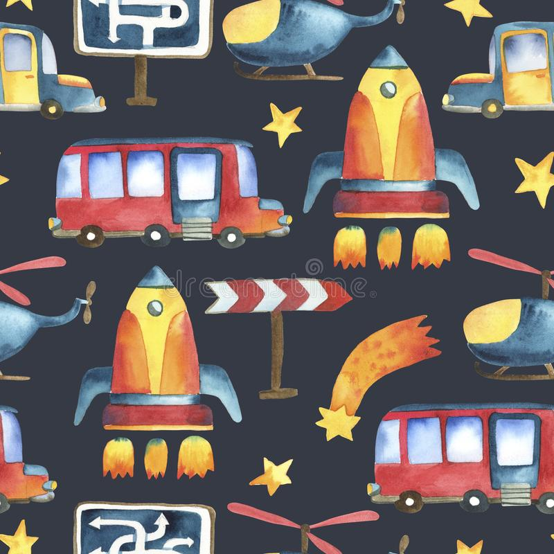 Seamless pattern of yellow-blue car, red bus, rocket, stars vector illustration