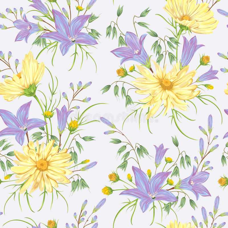 Download Seamless Pattern With Yellow Chamomile Flowers Blue Bluebells And Oat Rustic Floral