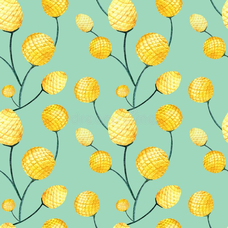 Seamless pattern yellow craspedia. Pattern for fabrics, textiles, bed linen and much more stock illustration