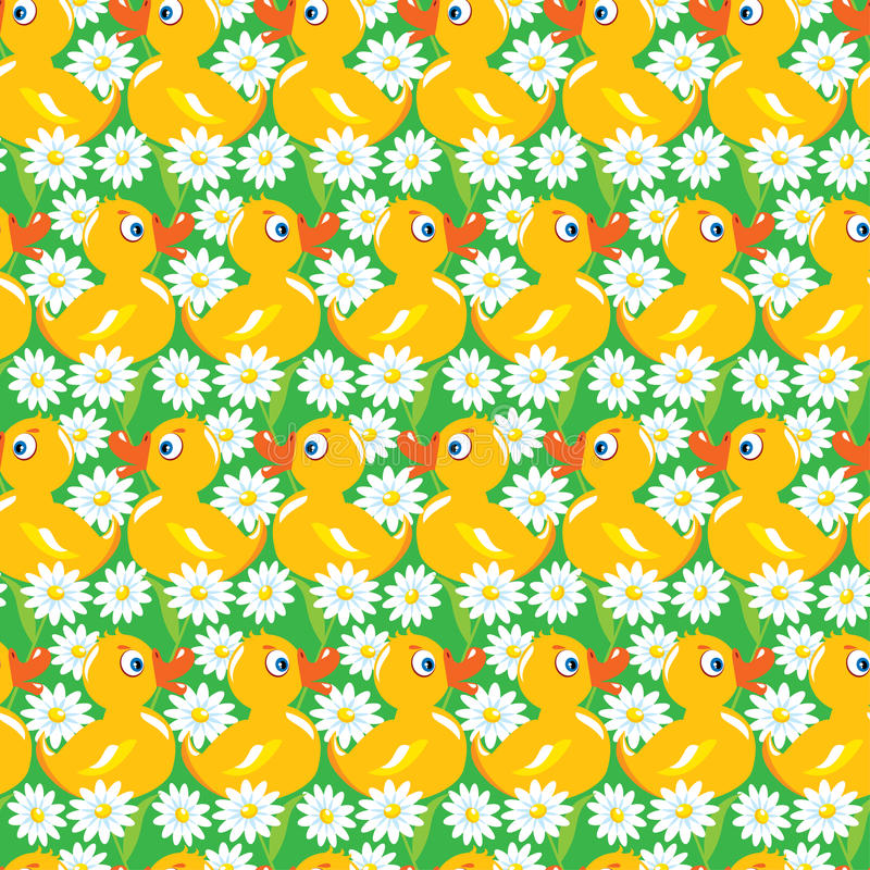 Seamless Pattern with yellow ducks, childish background royalty free illustration