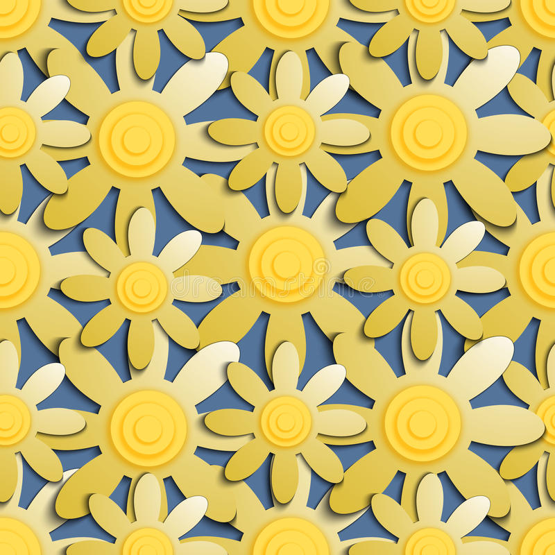 Seamless pattern with yellow flowers on a blue background. Abstract image of flowers. Flowers for background and pattern royalty free illustration