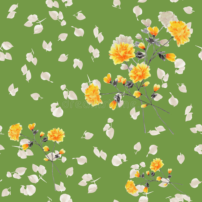Seamless pattern of yellow flowers and branches on a deep green background. Watercolor stock photo