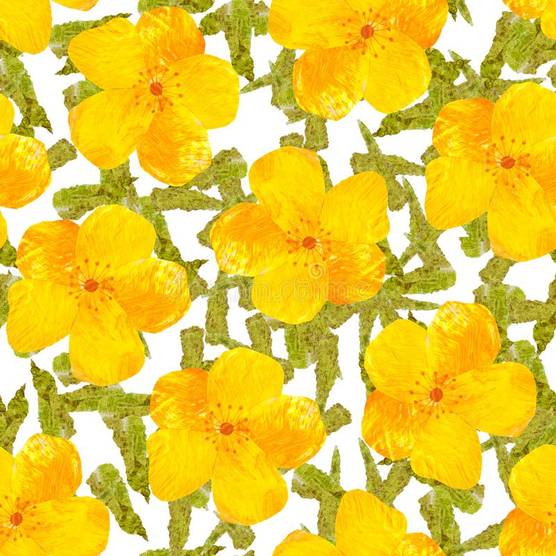 Seamless pattern of yellow flowers and green leaves of paper with painted texture. stock images
