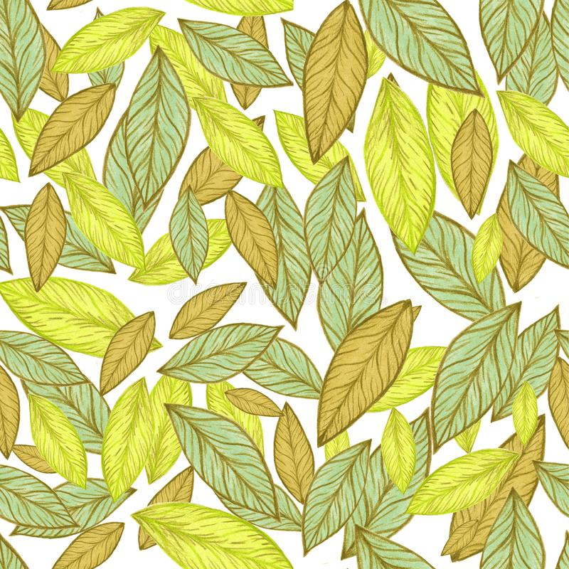 Seamless pattern. Yellow Leaf illustration. Seamless pattern. Leaf illustration.Nice illustration for notebook cover, book, wallpaper, fabric, textile,texture vector illustration