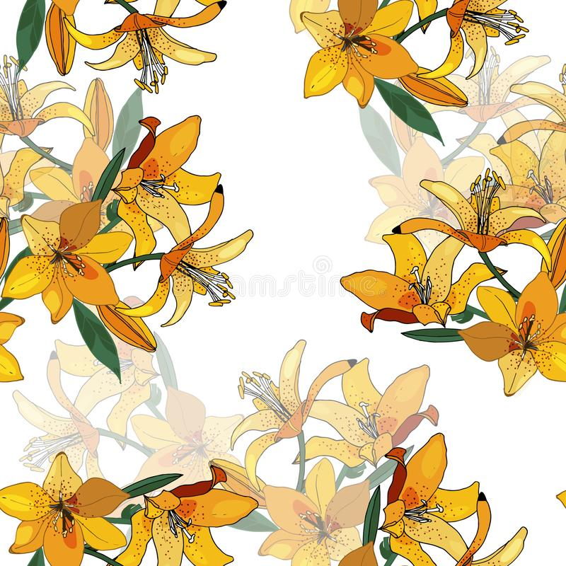 Seamless pattern with yellow lilies on the whie background. Seamless pattern with yellow lilies on the whie background stock illustration