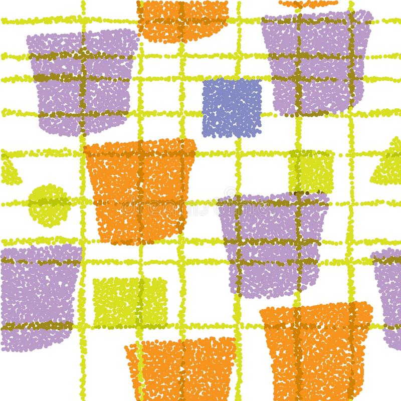Seamless pattern. Yellow, orange and purple texture with shapes and stripes. Abstract vector background for web page, banners, royalty free illustration