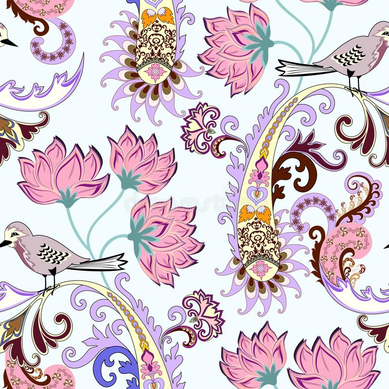 Seamless pattern with yellow paisley,large pink flowers and a small motley birdie royalty free illustration
