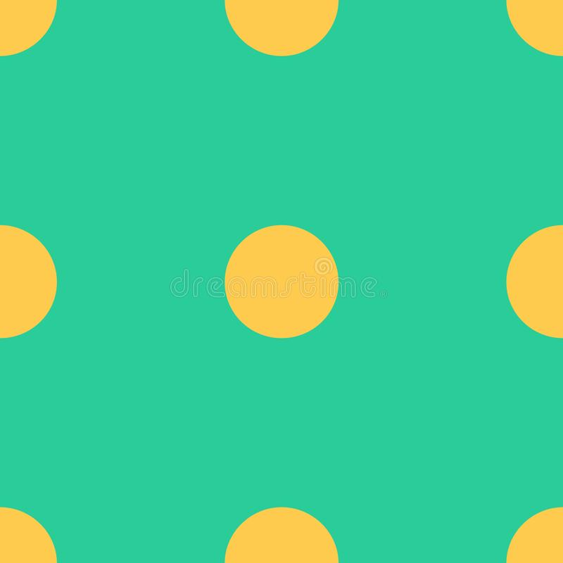 Seamless pattern with yellow polka dots on a green background Traditional tile design in vintage pop art style Vector illustration royalty free illustration