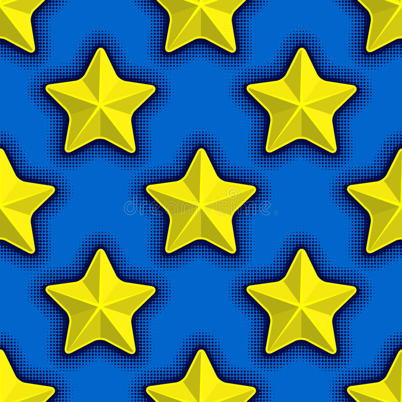 Seamless pattern with yellow stars on blue background. Vector illustration of seamless pattern with yellow stars on blue background stock illustration