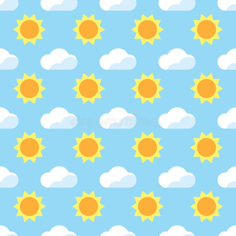 Seamless pattern yellow sun and white cloud on blue background. Blue sky with sun and cloud pattern background. vector illustration