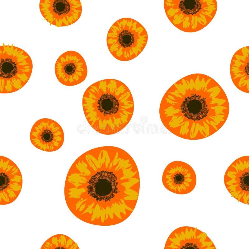 Seamless pattern yellow Sunflower and orange blot on white, vector eps 10 stock illustration