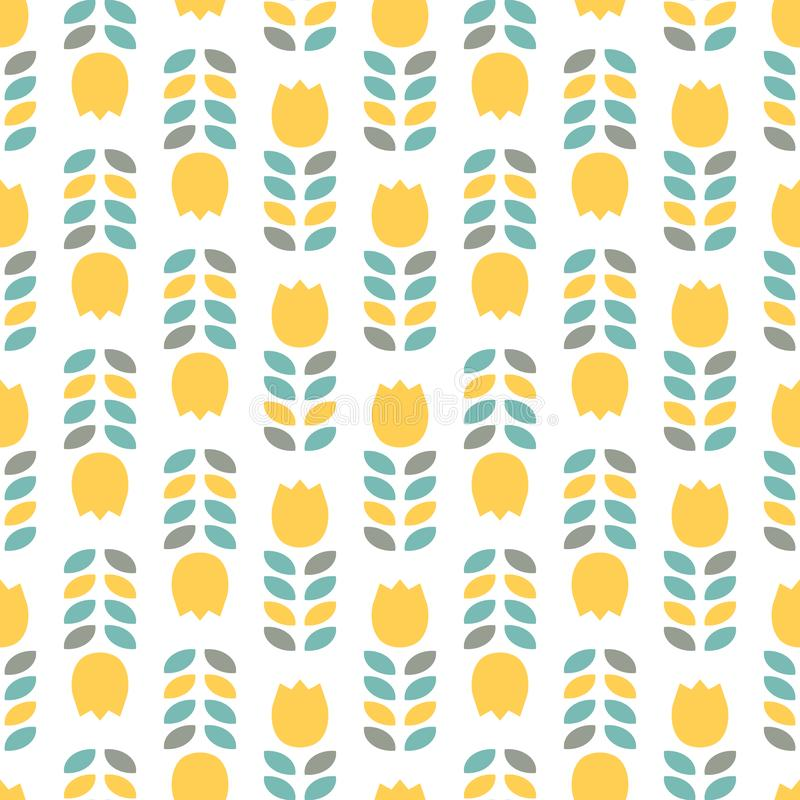 Seamless pattern with yellow tulips and leaves stock illustration