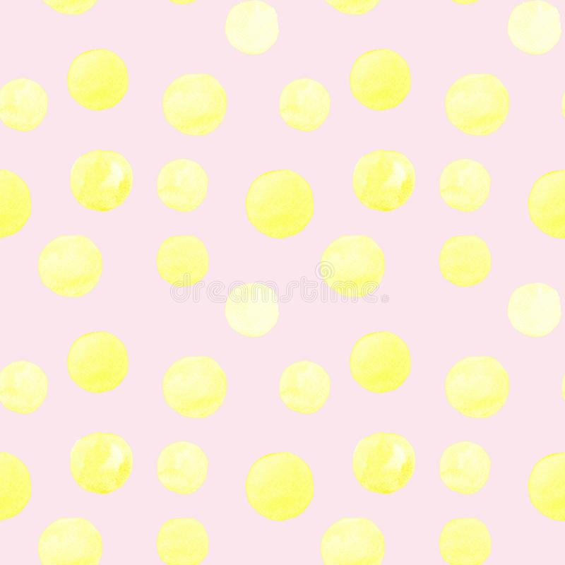 Seamless pattern of yellow watercolor hand painted round shapes, stains, circles, blobs isolated on pink background. Design for textile, wallpaper, cards vector illustration