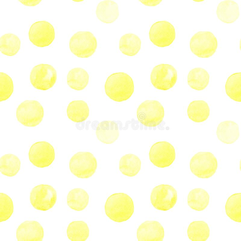 Seamless pattern of yellow watercolor hand painted round shapes, stains, circles, blobs isolated on white background. Design for textile, wallpaper, cards royalty free illustration