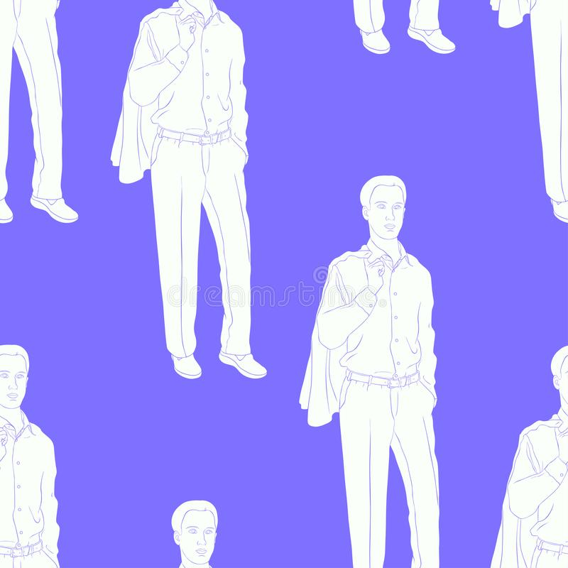 Seamless pattern Young man in a business suit vector illustration stock illustration