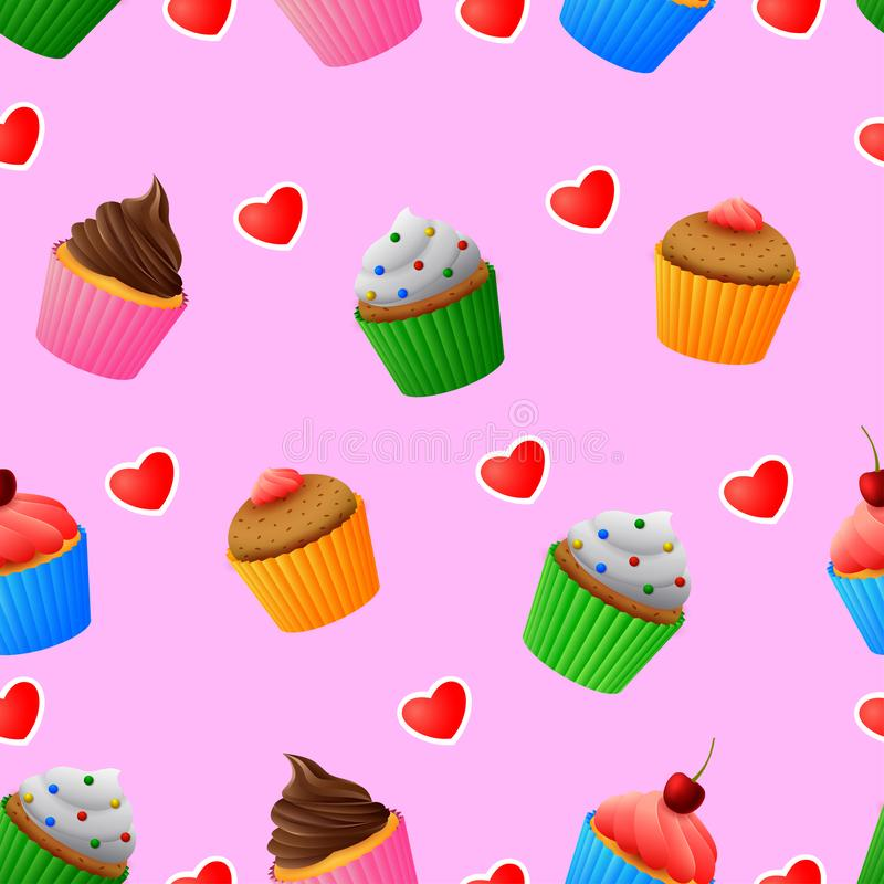 Seamless pattern of yummy colored cupcakes royalty free illustration