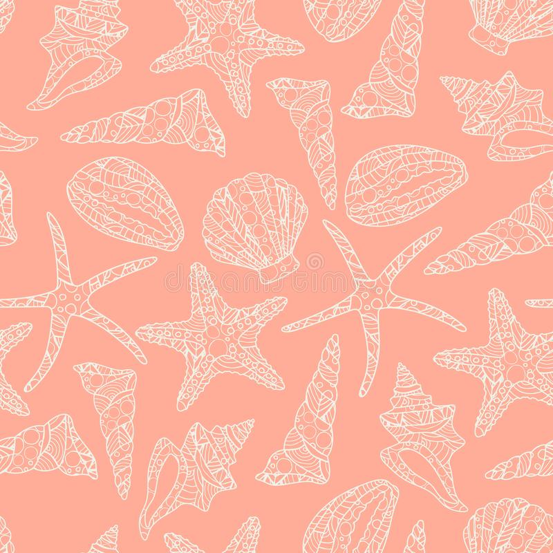 Seamless pattern in zen art style with conch shells and starfish on pink background. Stock vector illustration. black and white monochrome vector illustration