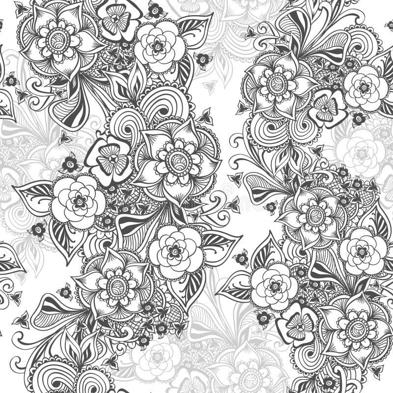 Seamless pattern in Zen-doodle flowers style black on white vector illustration