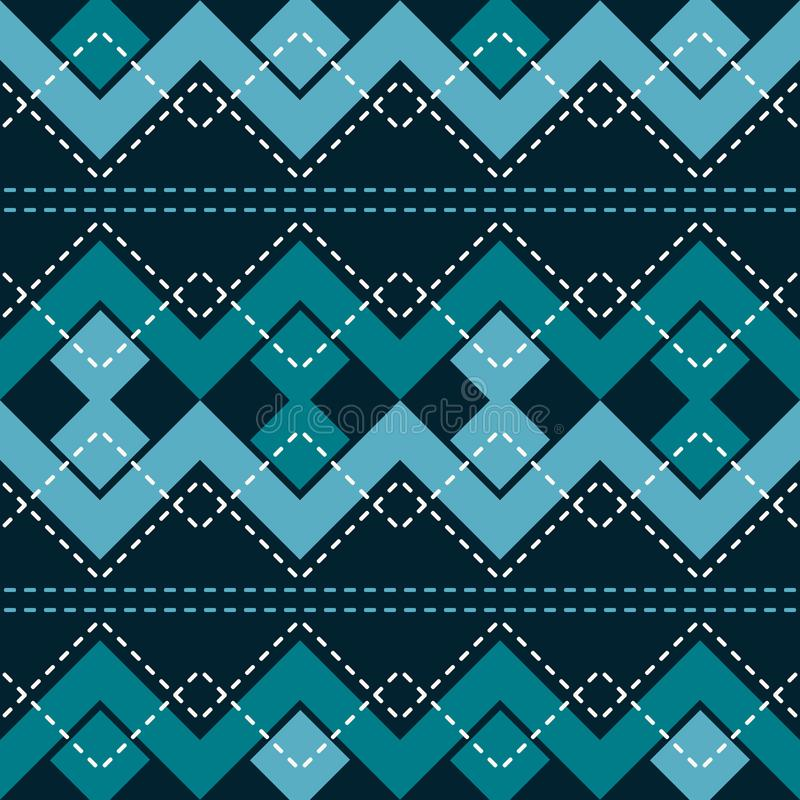 Seamless pattern with zigzag and connected squares royalty free illustration