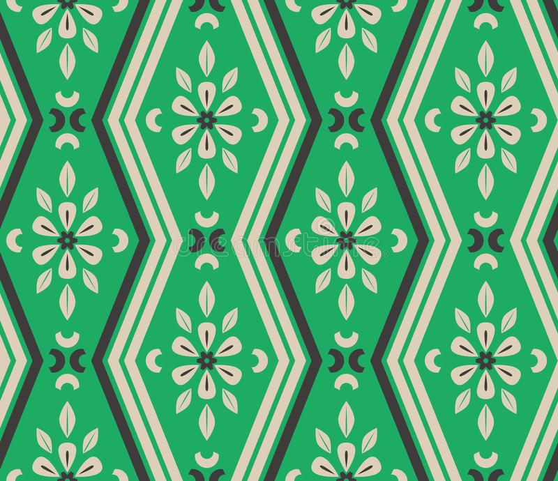 Seamless pattern with zigzag lines and floral elements stock illustration