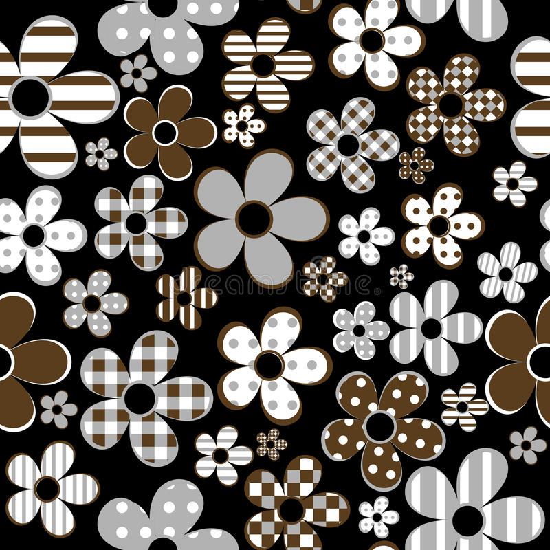 Seamless with patterned flowers over black background stock illustration