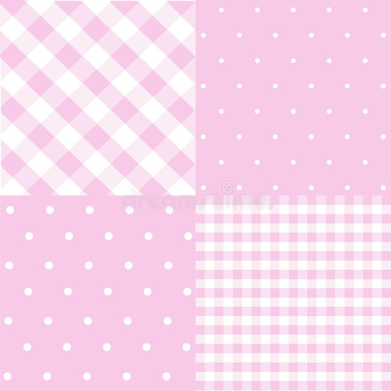 Seamless patterns for baby girl shower party. Set of cute pink backgrounds for invitation templates, scrapbook, cards stock illustration