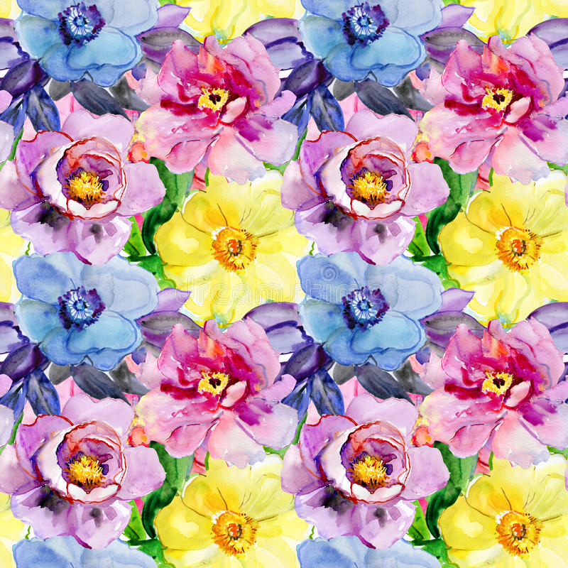 Seamless patterns with Beautiful flowers stock photography