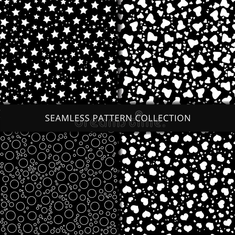 Seamless patterns on black background. Stars, hearts, circles, bubbles and clouds endless texture stock illustration