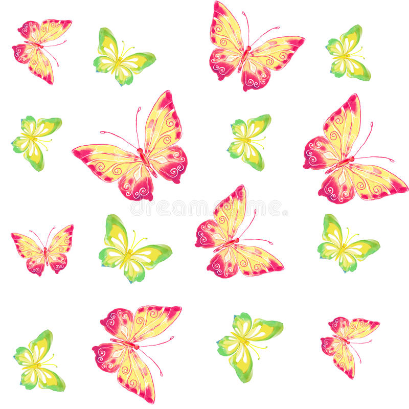 Seamless patterns. Butterflies watercolor royalty free illustration