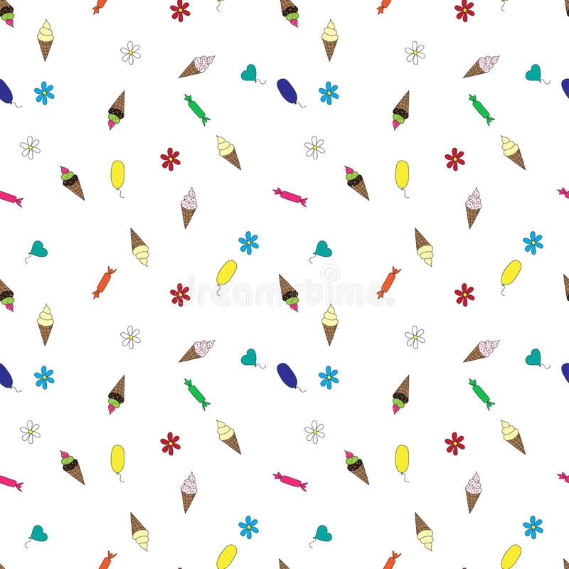 Seamless patterns with candies and sweets stock illustration