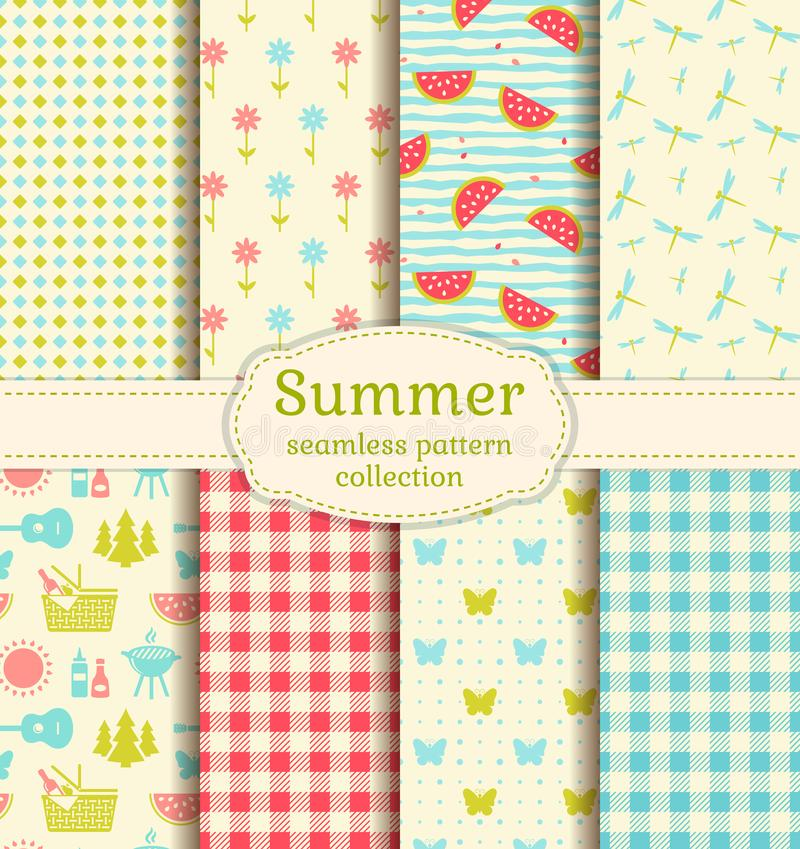 Summer picnic. Seamless patterns. Vector set. Seamless patterns with checkered blanket, watermelons, butterflies, flowers, dragonflies and picnic symbols vector illustration