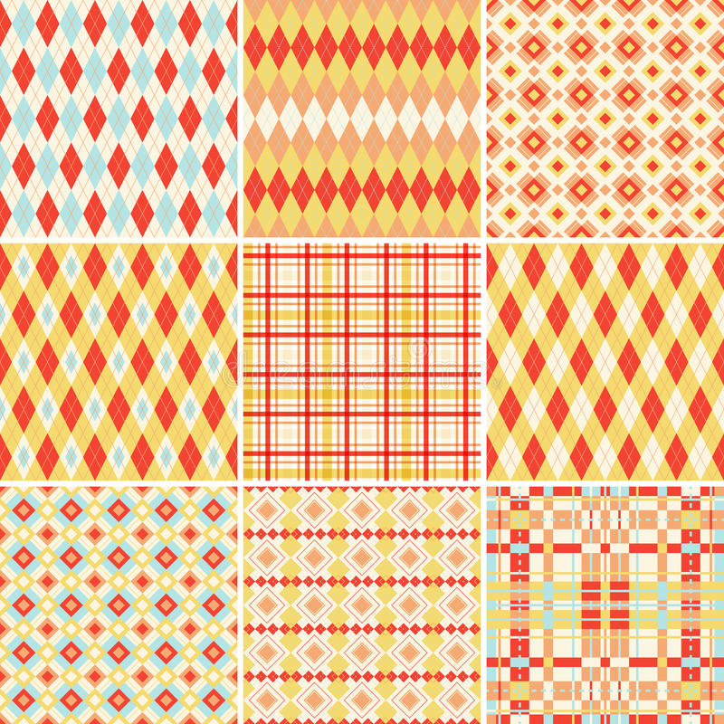 Seamless patterns collection in bright colors vector illustration