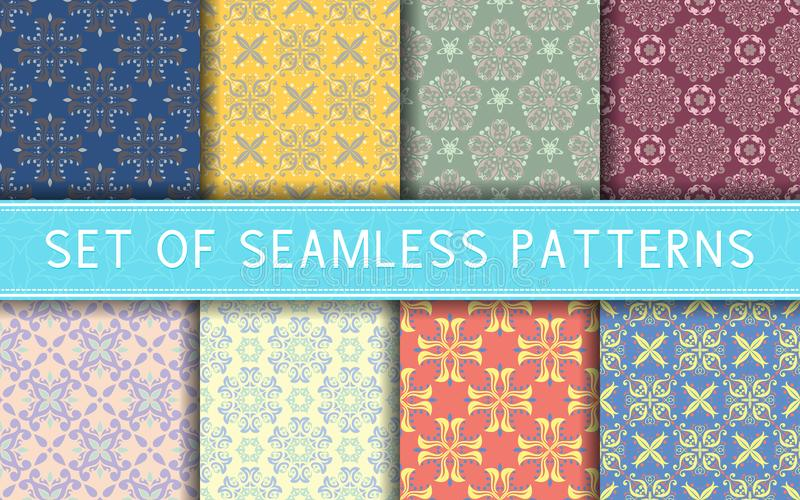 Seamless patterns. Collection of colored floral backgrounds vector illustration