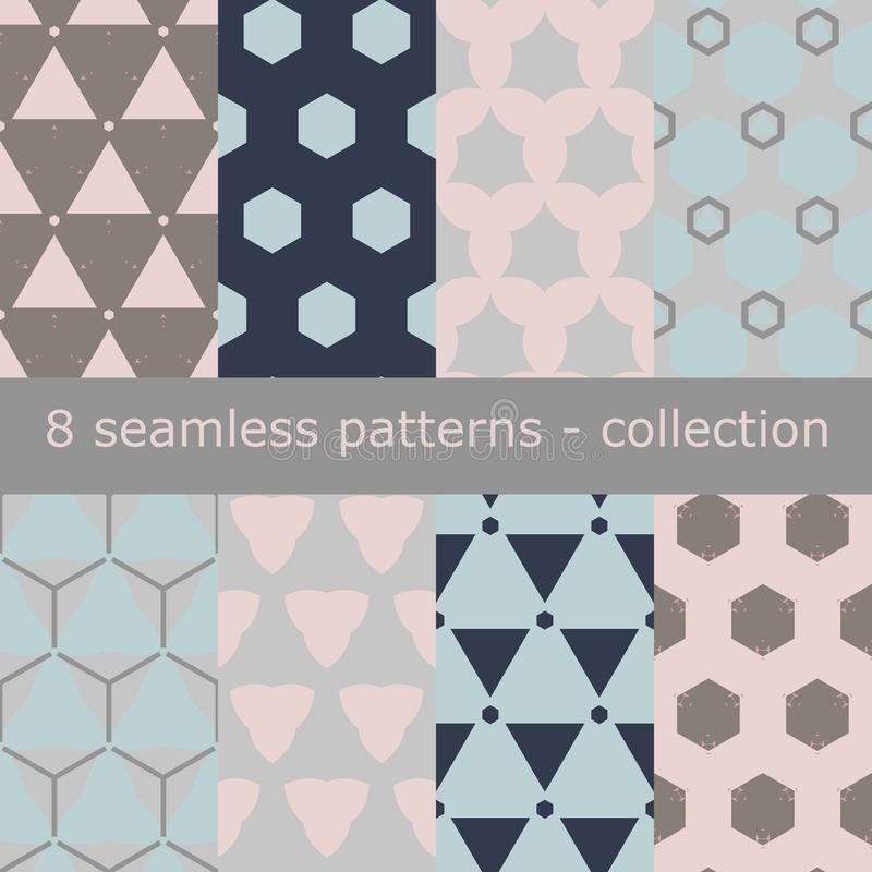 Seamless patterns collection, modern, in 8 different designs. Matched together. stock images