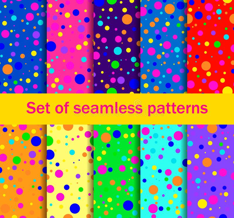 Seamless patterns with colored circles are randomly scattered. Bright colors, collection of ten backgrounds. Vector royalty free illustration